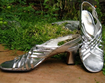 The 1960's Silver Metallic Strappy Amano Sandal