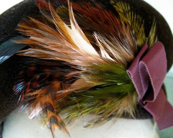 The 1950's Cocoa Brown Bon Ton Feathered Hat