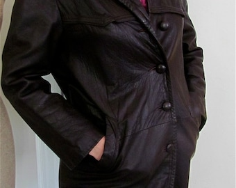 The 1970's Boho Brown Leather Car Coat