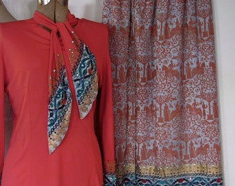 The 1950's Italian Studio Casa Silva Bedazzled Blouse and Maxi Skirt