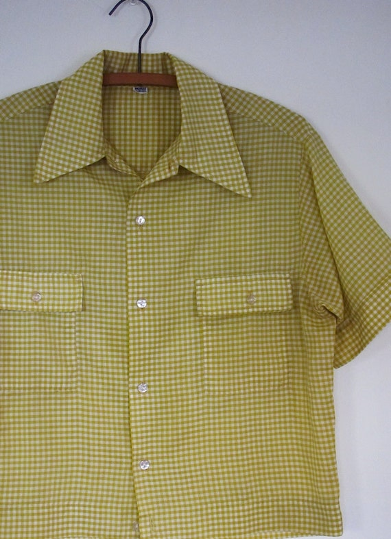 The mustard yellow gingham men 39 s shirt for Mens yellow gingham shirt