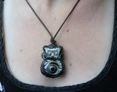 GOOD LUCK OWL Hand Carved Brazilian Agate Good Luck Charm Mama Daddy Necklace