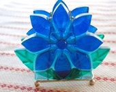 Vintage Napkin Holder Funky Blue Flower / by Caressment / Quirky and Cute