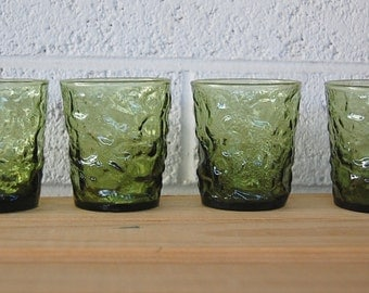 Vintage SET of 4 Anchor Hocking Milano Lido 8 Ounce On the Rocks Glass Tumblers in Olive Avocado Green