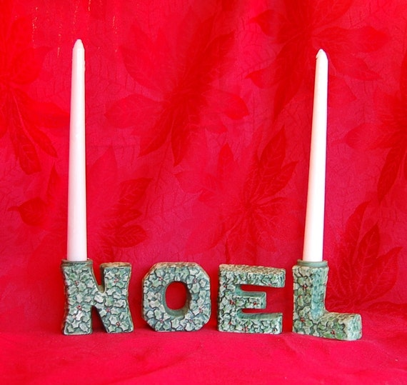 CLEARANCE Vintage Lefton's Candle Holders Spell NOEL or good if your name is LEON