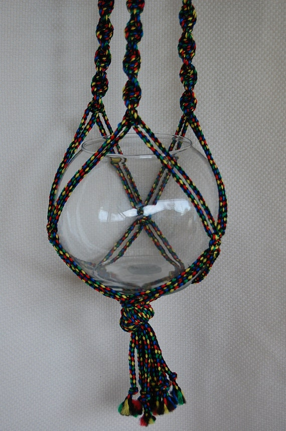 Macrame Plant Hanger Psychedelic Fish Bowl 42 Inches Total