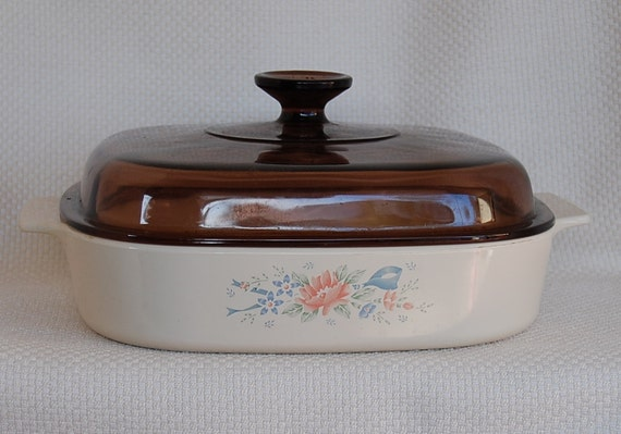 Vintage Corning Ware Symphony 2 Liter 2 Quart Covered Casserole A 10 B with Brown Lid Amber Lid circa 1990