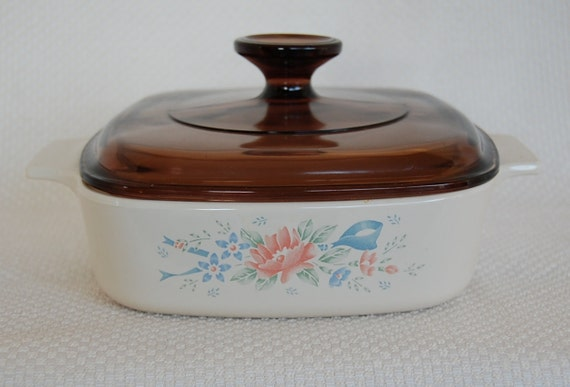 Vintage Corning Ware A-1-B Symphony Design 1 Liter, or 1 Quart Covered Casserole with Brown Lid Amber Lid circa 1990