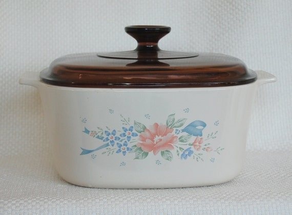 Vintage Corning Ware Symphony 3 Liter 3 Quart Covered Casserole A 3 B with Brown Lid Amber Lid circa 1990