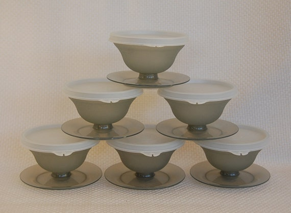 Set of 6 Vintage Tupperware Dessert Cups in Smoke Color for Your Delicious Creations