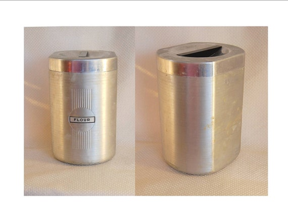 Vintage Tin Flour Canister and Scoop by Hygia Germany