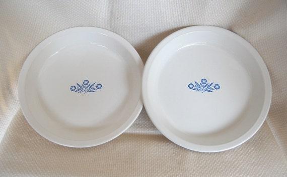 Set of 2 Vintage Corning Ware 9 inch Pie Plates Cornflower Blue number P-309