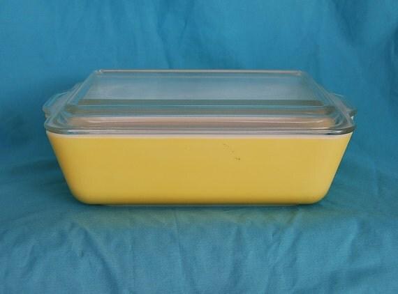 Vintage Pyrex 503 Refrigerator Dish Yellow Pyrex Covered Dish