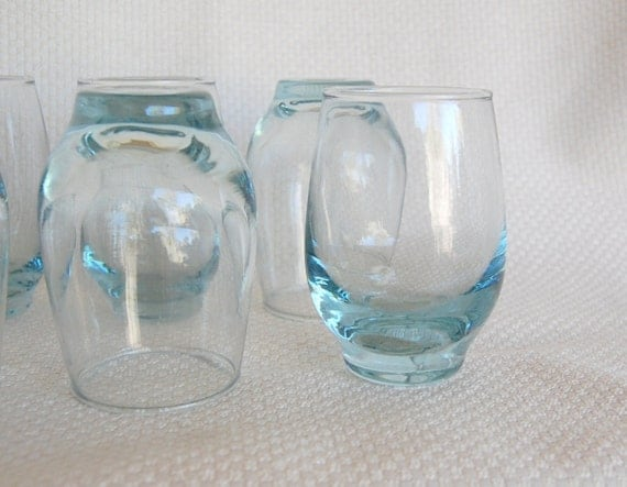 Set of 6 Vintage Libbey Aqua Tempo 6 ounce Juice Glasses Discontinued in 1957