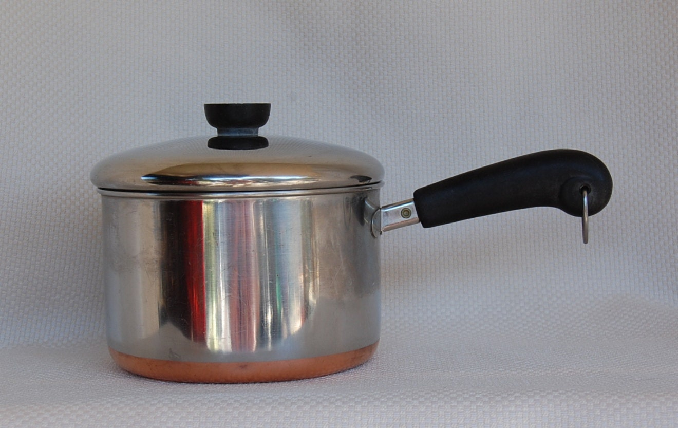 Vintage Revere Ware 3 Quart 1801 Copper Clad Stainless Steel