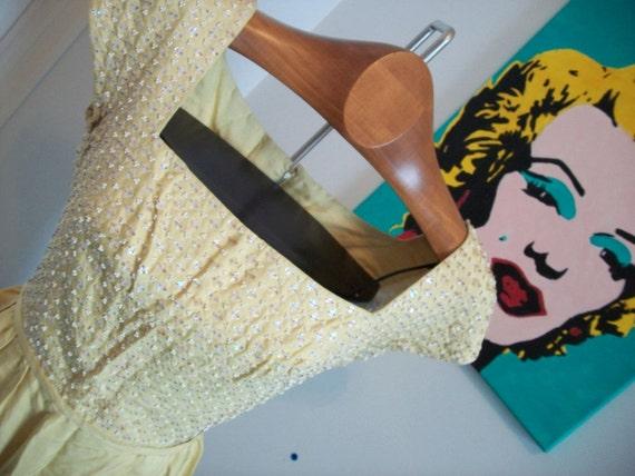 1950s raw silk beaded PROM party wiggle dress yellow S M small medium