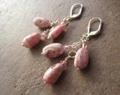 LOVE HEALS Rhodochrosite and Pink Swarovski Crystal Earrings