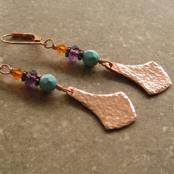 Hammered Copper Drop with Turquoise, Amethyst, and Crystal Earrings