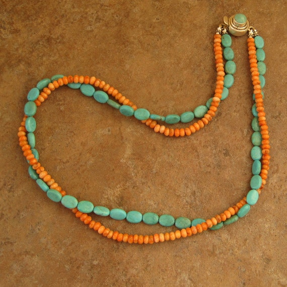 OPULENT COWGIRL  Turquoise and Orange Spiny Oyster Double stranded necklace with a turquoise box clasp