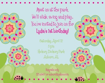 Flowers in the park birthday invitation; Summer Birthday Invitation; Custom Digital File