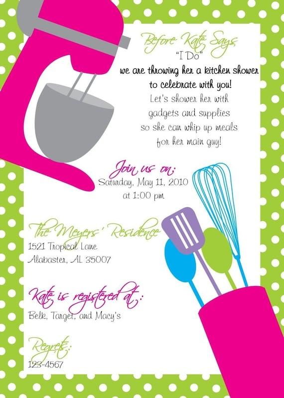 Kitchen Shower Invitation Plus Recipe Card By Lilypadboutiquestore