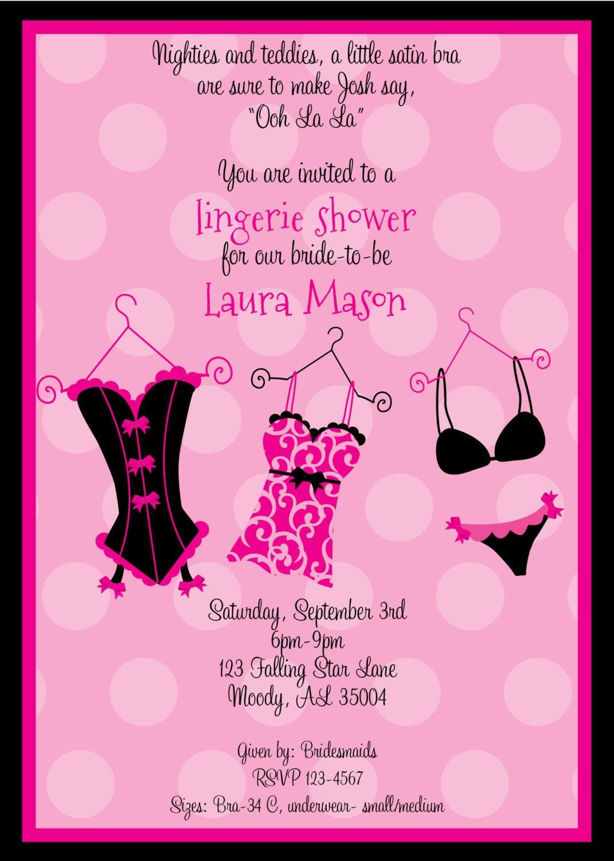 Funky Pink Lingerie Shower Invitation