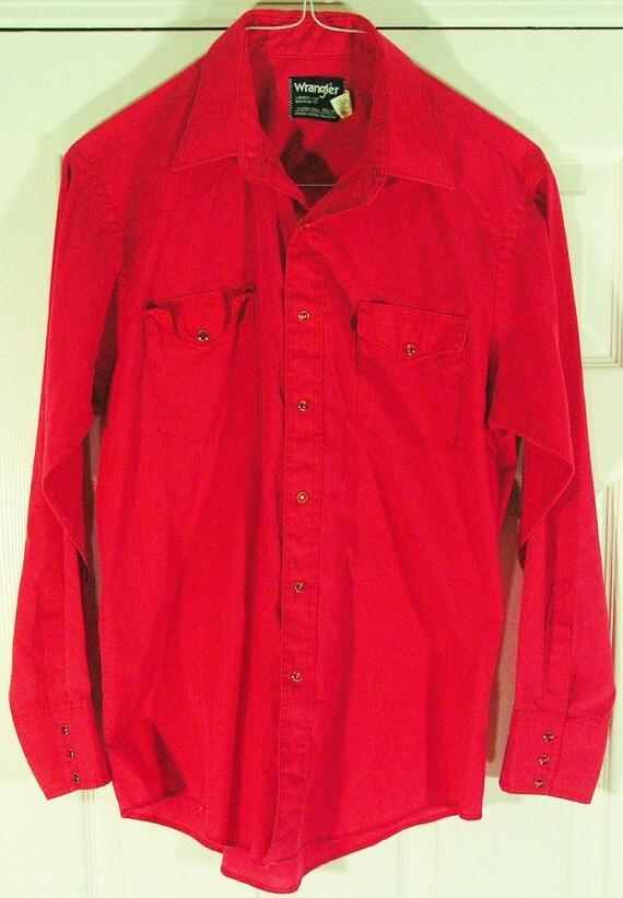 mango red pearl snap shirt mens large western cowboy long sleeve