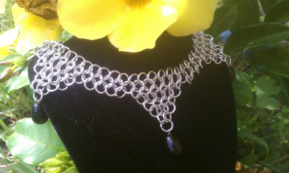 Chainmail Choker/Necklace with Black Tear Drop Beads