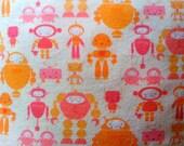 Roving Robot Print Pillow in Pink & Orange Linen/Cotton