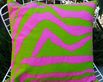 Pillow Cover in Hot Pink & Kelly Green Animal Print