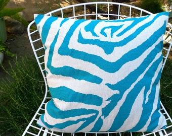 Pillow Cover in Turquoise & Beige Linen Animal Print