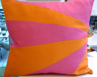 Pillow Cover in Bright Pink & Tangerine Wool SUNRAY