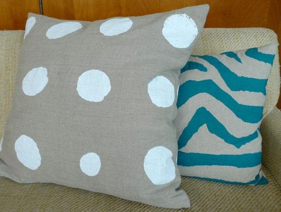 Natural Linen & White Dot Pillow Cover