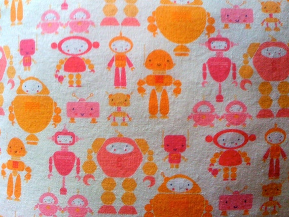 Roving Robot Print Pillow in Pink & Orange Linen/Cotton