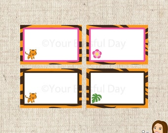 PRINTABLE Tiger Label Tents (Boy or Girl) #595