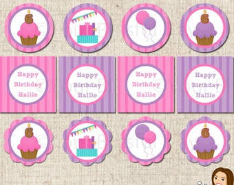 PRINTABLE Bright Cupcake Party Circles (Customizable) #512