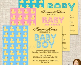 PRINTABLE Rubber Duckie Baby Shower Invitations #209