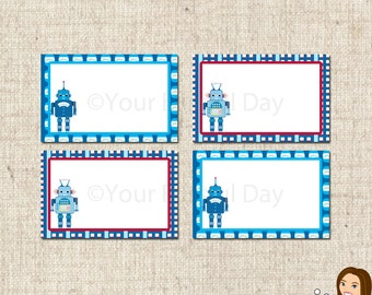 PRINTABLE Robot Label Tents #577