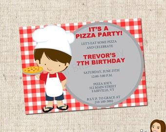 PRINTABLE Boy Pizza Party Invitation #570