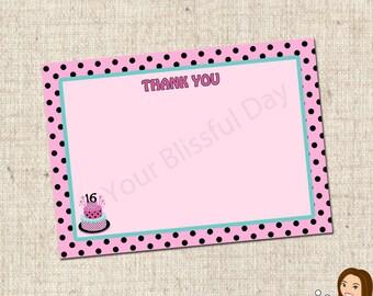 PRINTABLE Sweet 16 Birthday Cake Thank You Cards #592