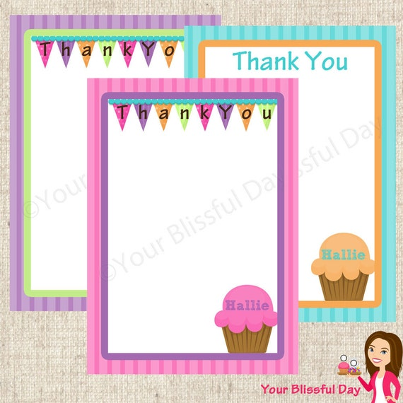 PRINTABLE Bright Cupcake Party Thank You Cards (Personalized & Customizable) #512