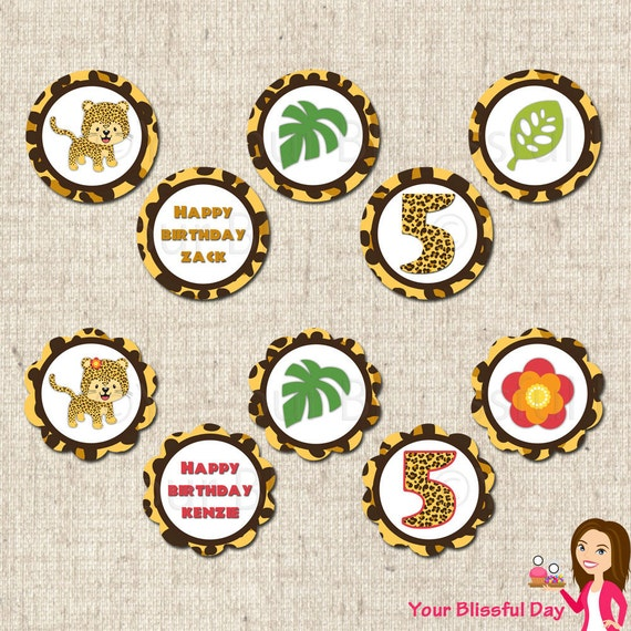 PRINTABLE Leopard Party Circles (Personalized Boy or Girl) #546