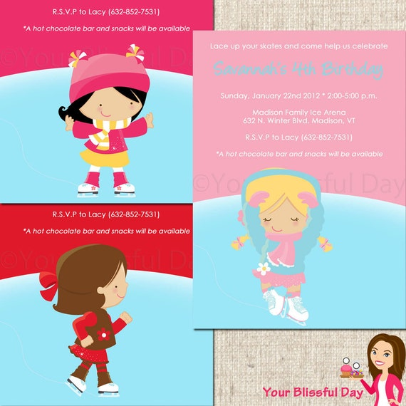 PRINTABLE Girl Ice Skating Party Invitations #541