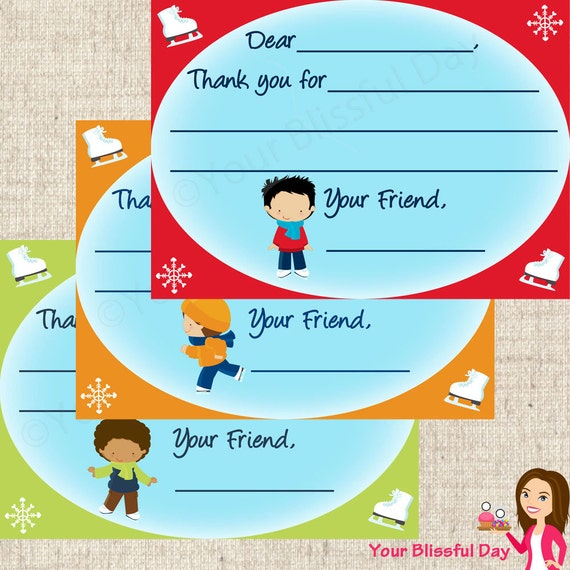 PRINTABLE Boy Ice Skating Fill-in-the-Blank Thank You Cards #541
