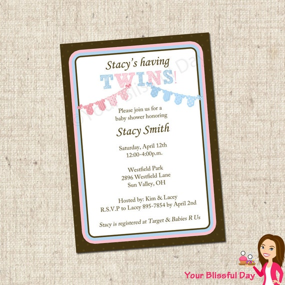 PRINTABLE TWINS Onesie Clothesline Baby Shower Invitations #201