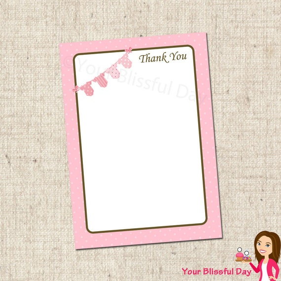 PRINTABLE Baby Girl Onesie Clothesline Baby Shower Thank You Cards #201