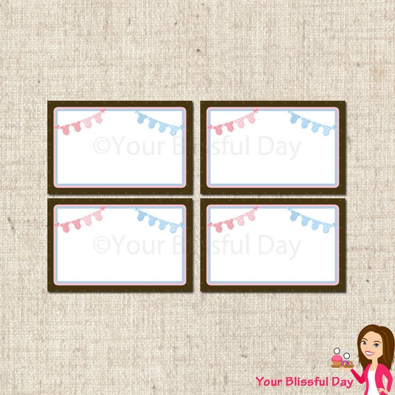 PRINTABLE TWINS Onesie Clothesline Baby Shower Label Tents #201