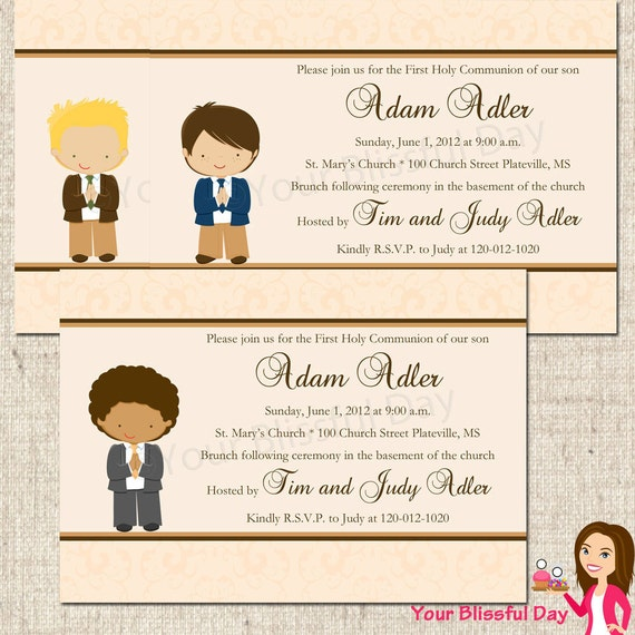 PRINTABLE First Communion Boy Party Invitation (Character of your choice) #602