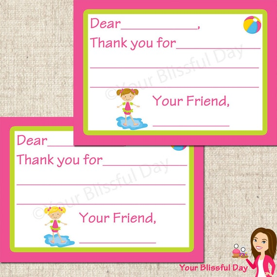 PRINTABLE Girl Pool Party Fill-in-the-Blank Thank You Cards (Your choice of character) #572