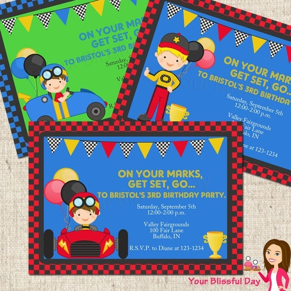 PRINTABLE Ready, Set, Go Boy Racecar Driver Party Invitation #576